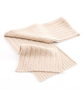 105be Cashmere Cable Scarf Beige