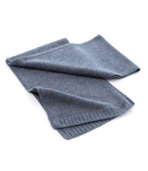 136dg Cashmere Plain Knit Scarf Derby Grey