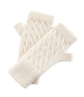 169wh Cable Detail Wristwarmer White