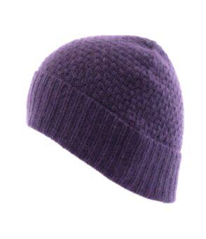 179dp Tuck Stitch Hat Deep Purple Fit
