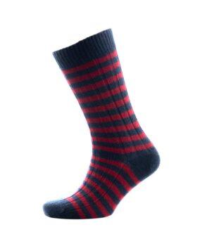 818nw Block Stripe Rib Socks Navy Wine Fit