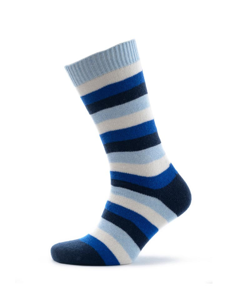 825rn Jersey Knit Block Stripe Socks Royal Navy Fit