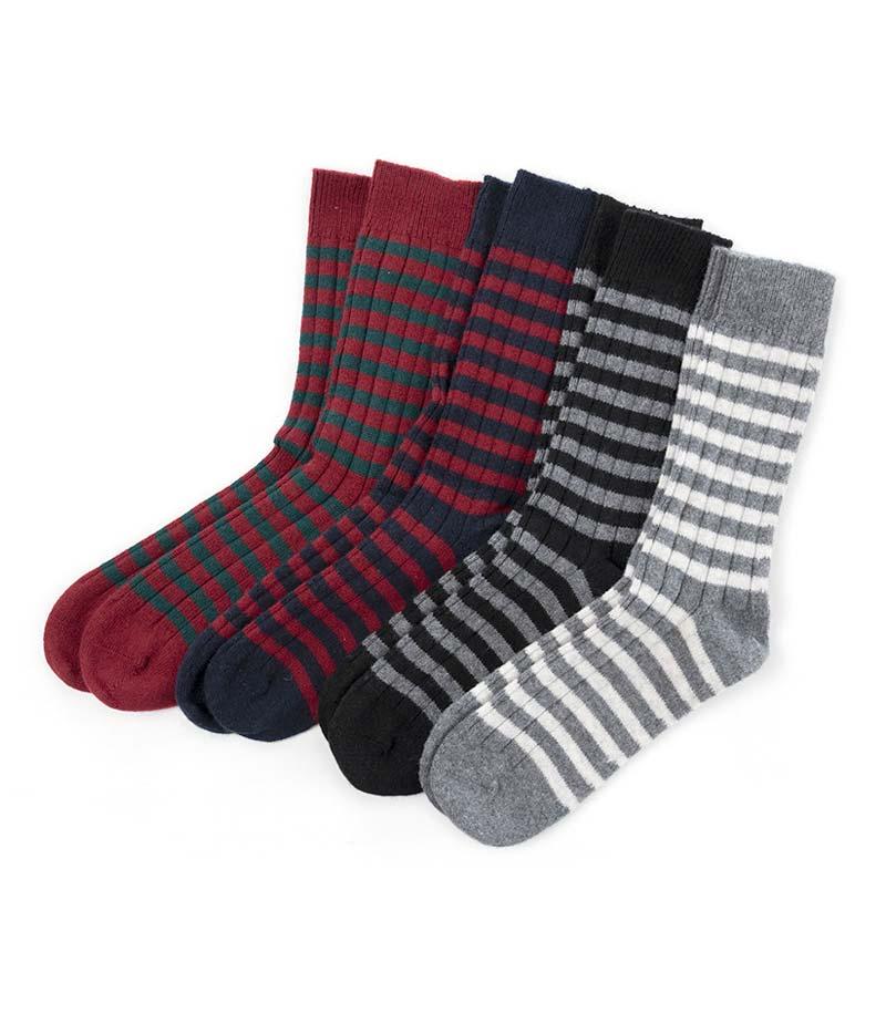 818set Blcok Stripe Rib Socks