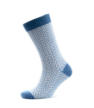 824bw Chevron Rib Socks Denim White Fit
