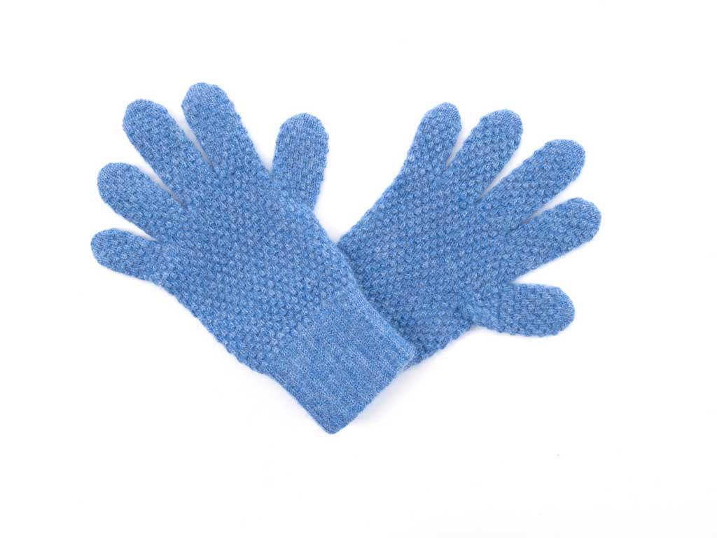 Tuck Stitch Cashmere Gloves in denim