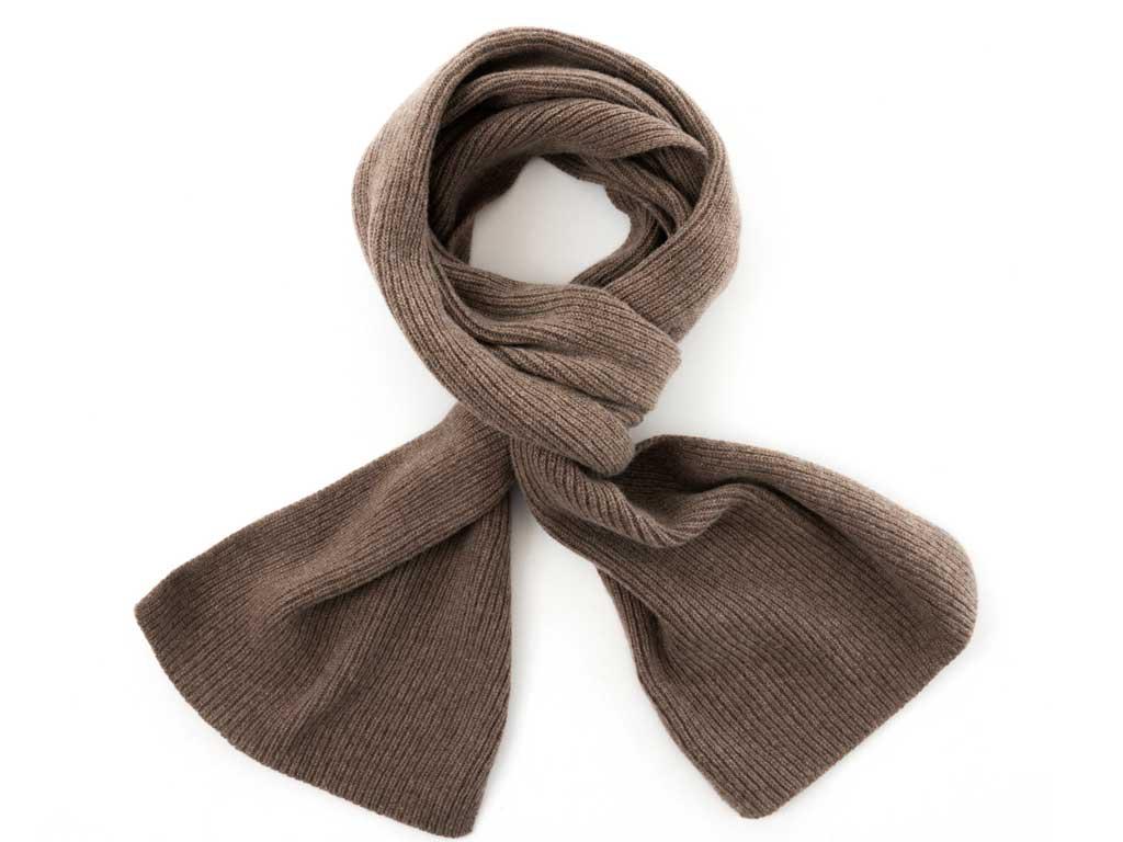 Cashmere single rib scarf in mocha