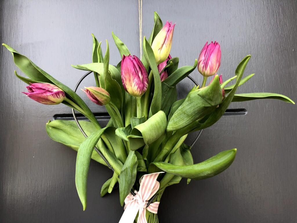 april showers bring may flowers tulip door decorations