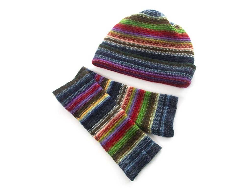 lambswool stripe beanie hat wristwarmer set in blue-green