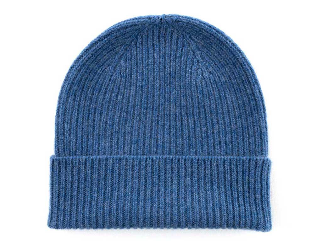 Father's day cashmere rib beanie hat in denim