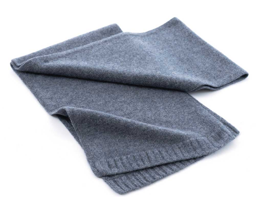Father's day cashmere plain knit scarf in flannel grey