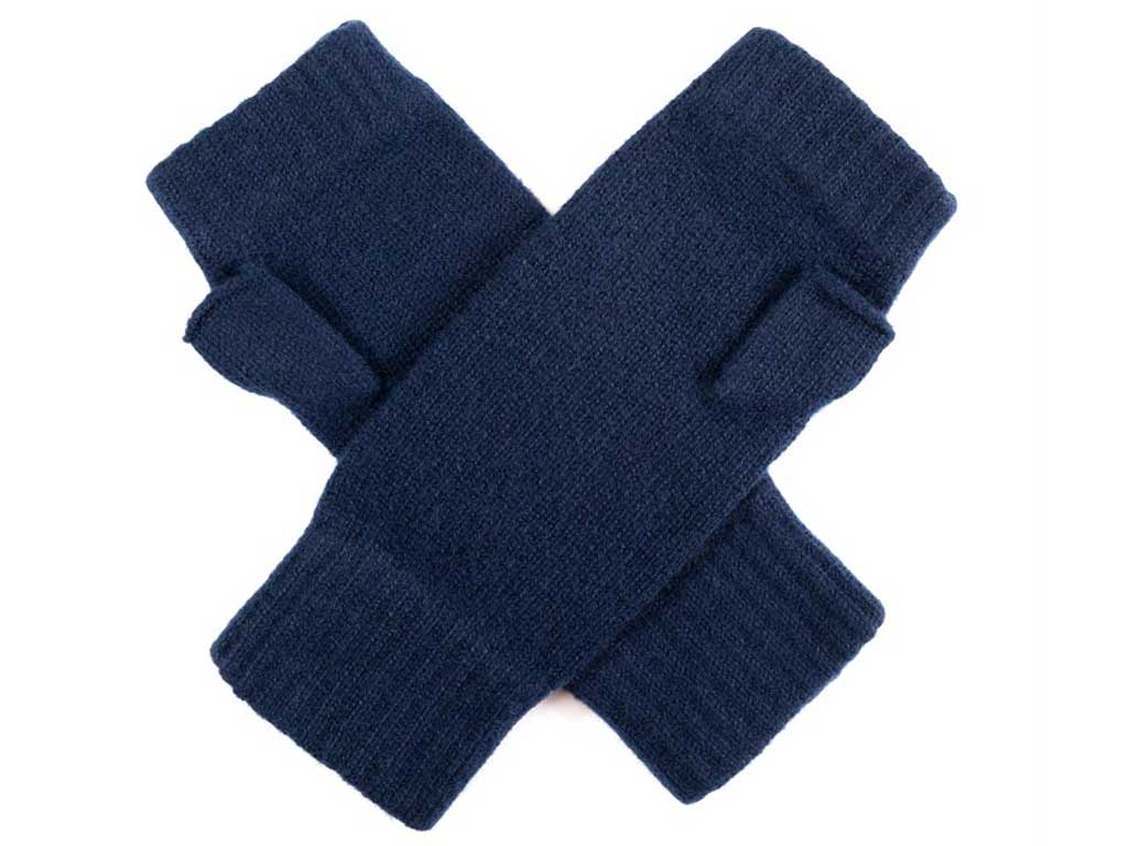 Father's day cashmere plain knit wristwarmers in navy