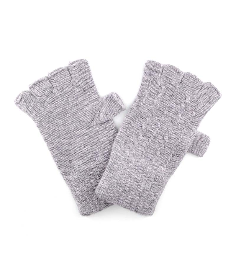 271br cashmere fine cable fingerless gloves