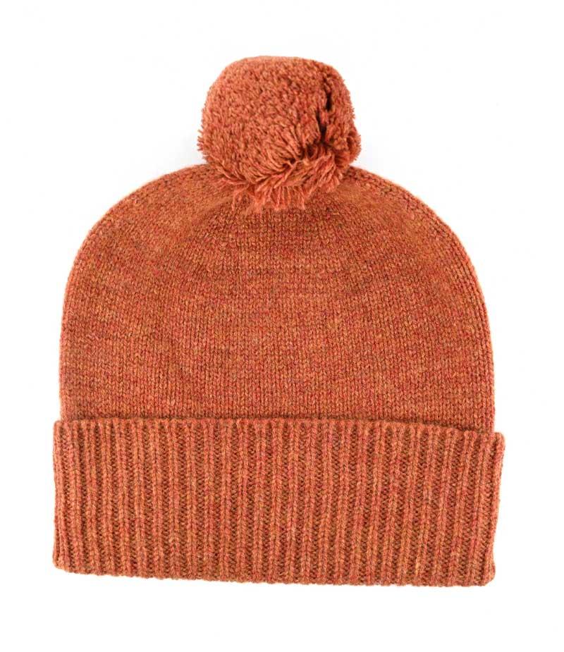 525em lambswool plain pom pom beanie hat
