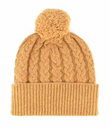 527fi lambswool cable beanie hat pom pom
